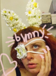 flower eyepatch and bunnyears