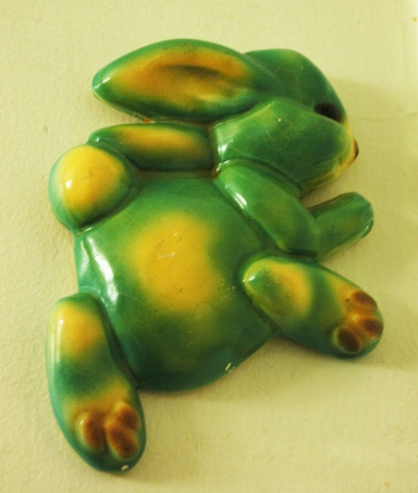 1960s ceramic wall decoration bunny acid green