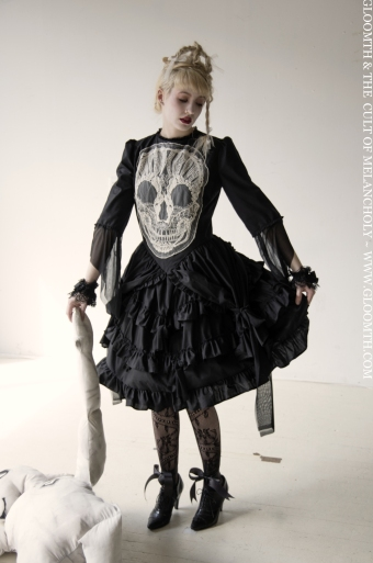 embroidered skull formal goth dress