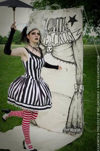gothic night circus dress black white striped
