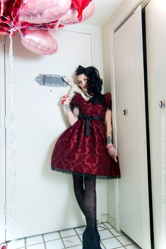 red damask gothic dress by gloomth