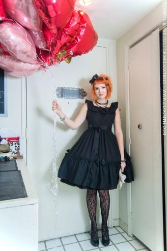 gothic lolita black ruffled bow dress canada egl