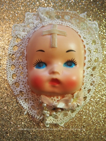 creepy doll face fascinator hat