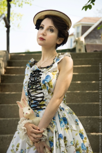 blue floral dress gloomth