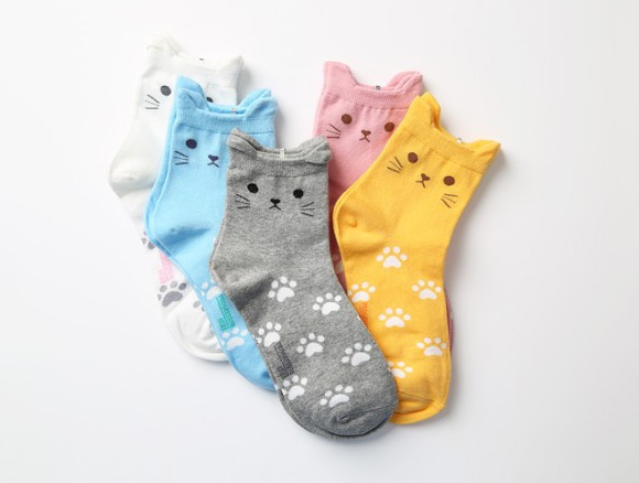(Not my photo but you can buy these here- http://www.storenvy.com/products/9874387-cat-ear-socks )