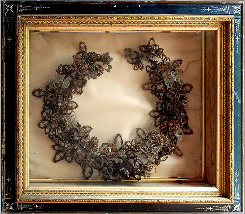 victorian hairwork wreath