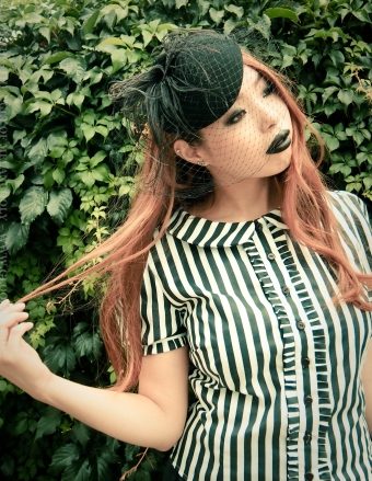 black and white striped gothic blouse