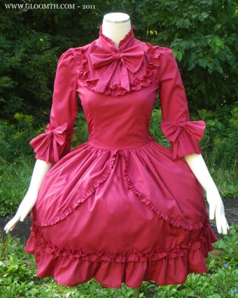 red victorian dress