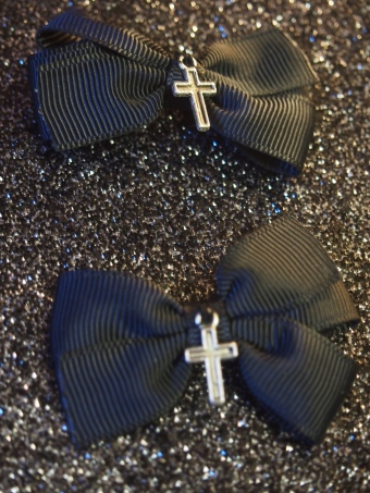 gothic lolita cross hair clips gloomth