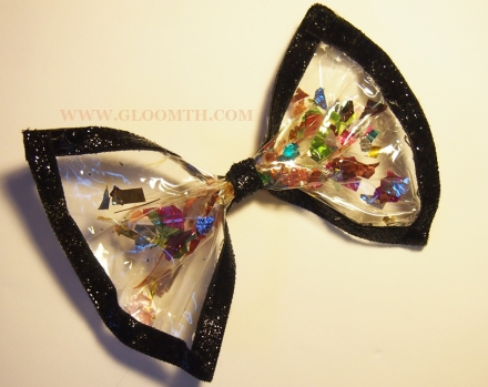 clear vinyl bow with confetti glitter diy tutorial how to