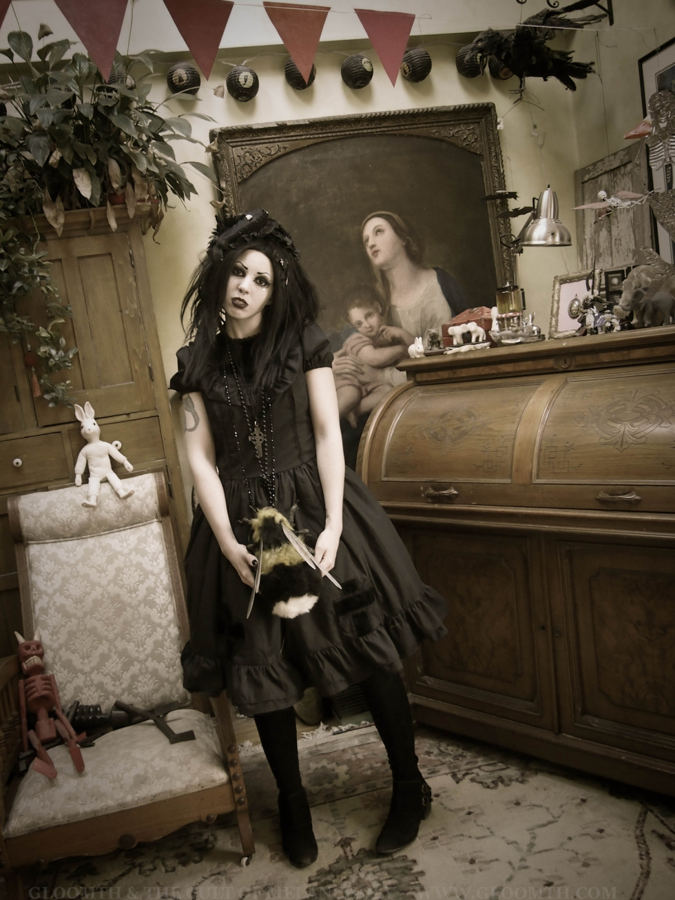 gothic antique doll creepy room