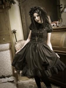 gloomth dress with velvet crosses