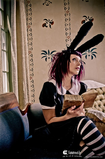 goth girl with bunnyears and purple hair striped socks gloomth