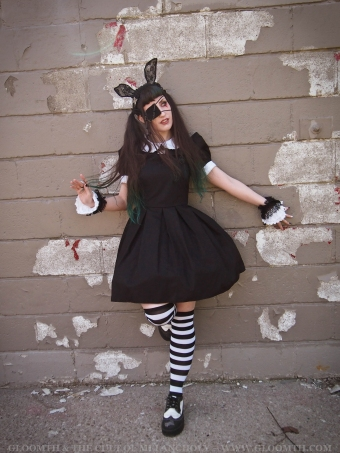 gothic doll dress with eyepatch and bunnyears gloomth