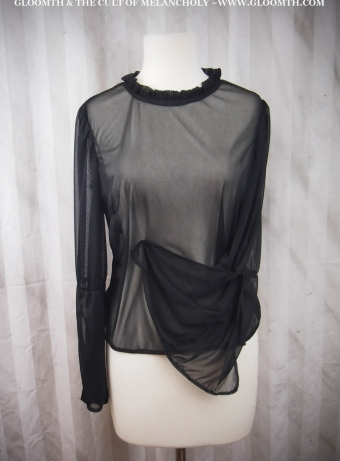 black mesh top with bell sleeves witch fashion gloomth