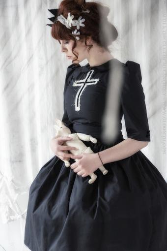 gothic dress with tattered velvet cross