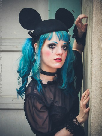 gothic gloomth girl with blue hair