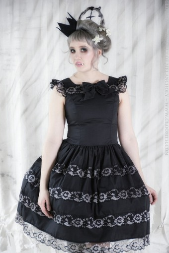 gothic lolita dress with grey lace