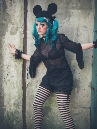 gothic outfit with bloomers mesh top striped tights