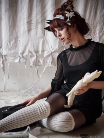 vampire girl in sheer mesh top and bloomers
