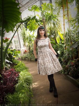 victorian garden with damask dress