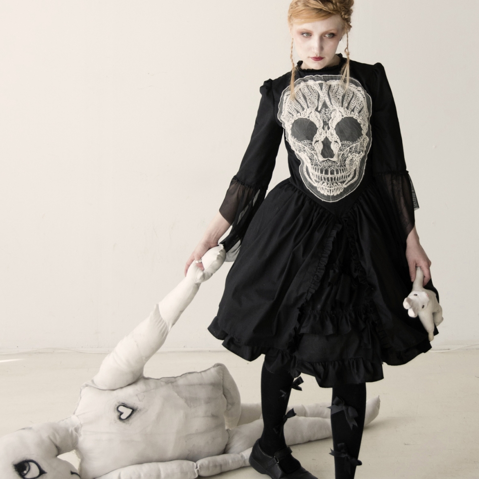 embroidered skull dress gloomth