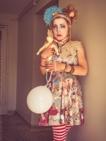 fashion clown toy print dress gloomth