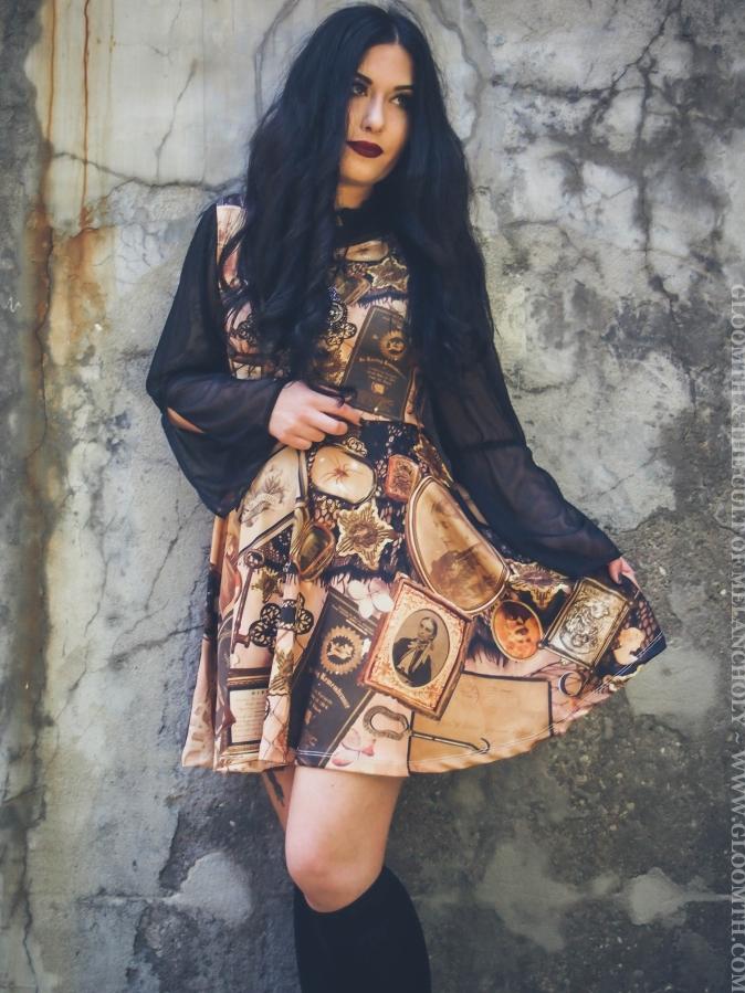 victorian mourning print dress