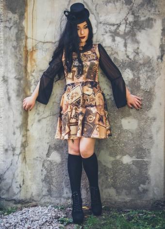 victorian print gothic dress