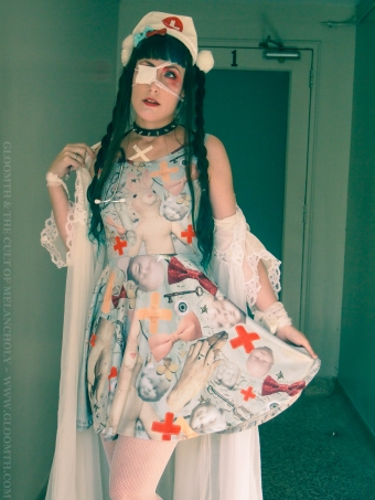 antique hospital theme print skater dress