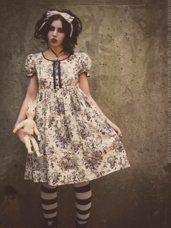 toile print babydoll victorian dress gloomth