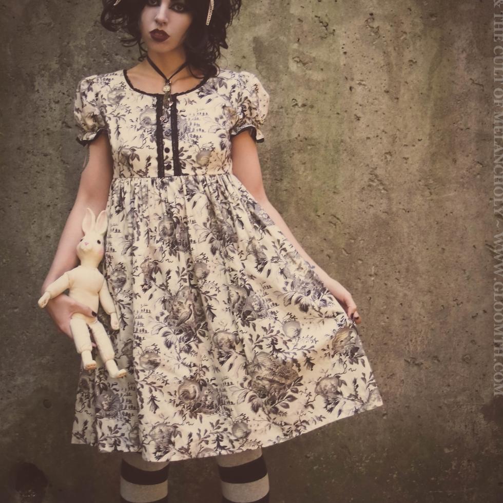 toile print babydoll victorian dress gloomth