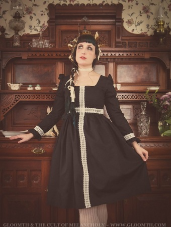 gothic dress with lace cross handmade gloomth