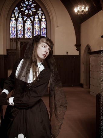 gothic lolita stained glass photoshoot outfit