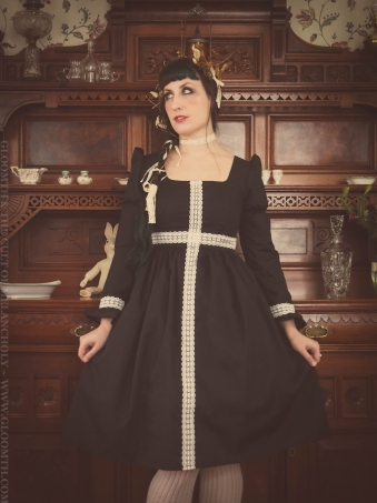 gothic lolita dress with lace cross detail