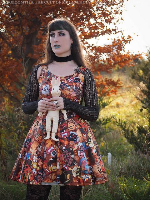 retro halloween print plus size dress gloomth