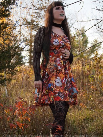 retro halloween print plus size dress gloomth