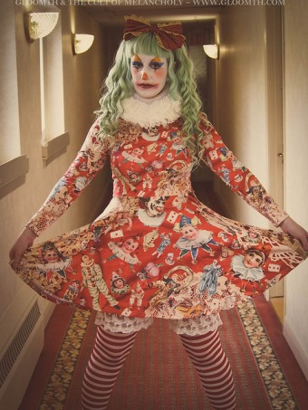 scary clown print dress by gloomth