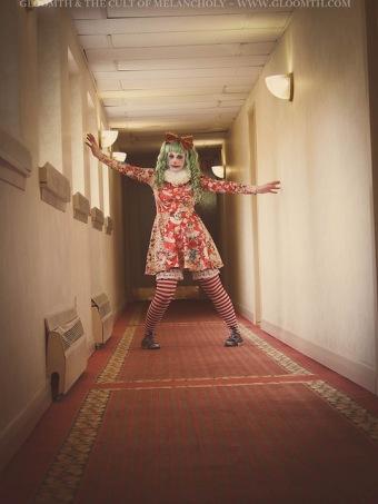 scary clown vintage circus print dress
