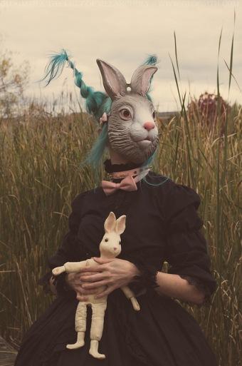 bunny mask editorial photoshoot gloomth gothic