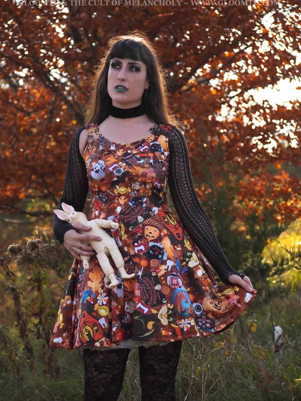 halloween printed skater dress vintage gloomth plus size