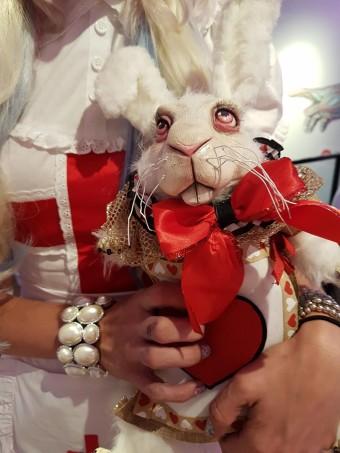 angel card art white rabbit wonderland sculpture