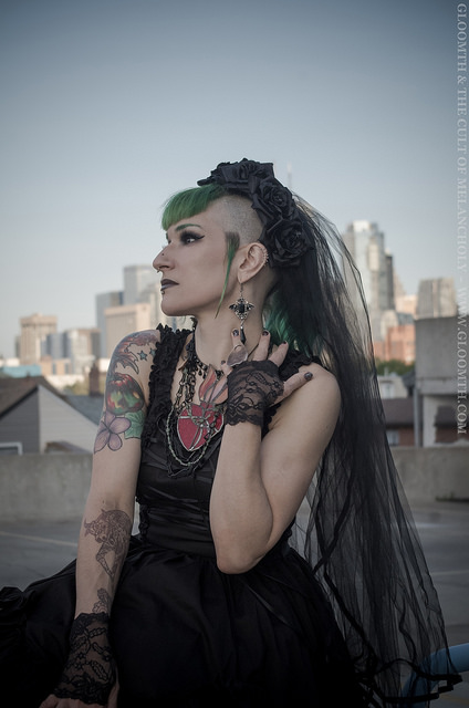 gothic outfit with purevile necklace and gloomth dress