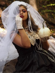 october bride with white pumpkin gothic fashion gloomth