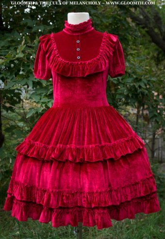 dracula's bride red velvet gothic lolita prom dress