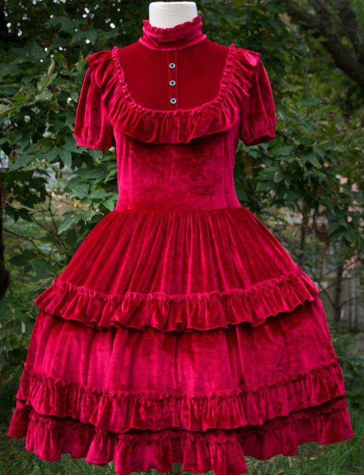 dracula's bride red velvet gothic lolita prom dress