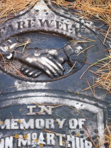 victorian clasped hands tombstone