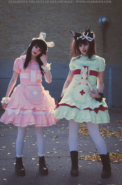 pastel nurse lolita outfits by gloomth menhera