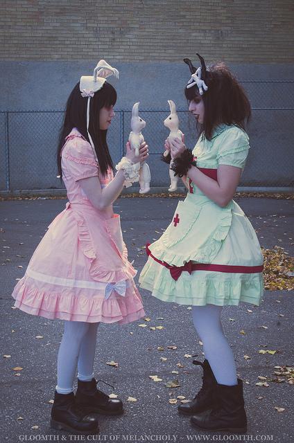 creepy doll nurse girls with toys