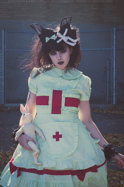 slime nurse mint green lolita medical outfit by gloomth